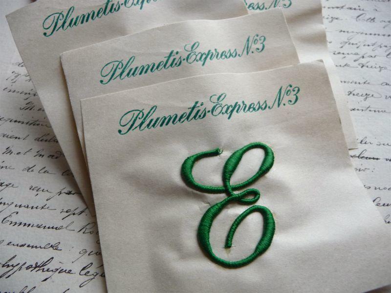 画像1: フランス製 イニシャル 刺繍シート No.3 グリーン '' E ''