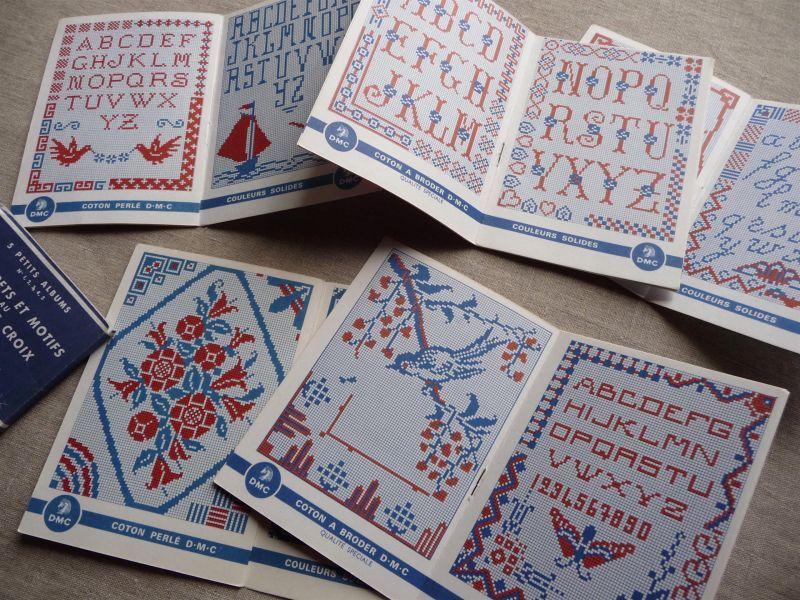 画像1: フランス DMC 刺繍図案5冊 & 赤糸セット