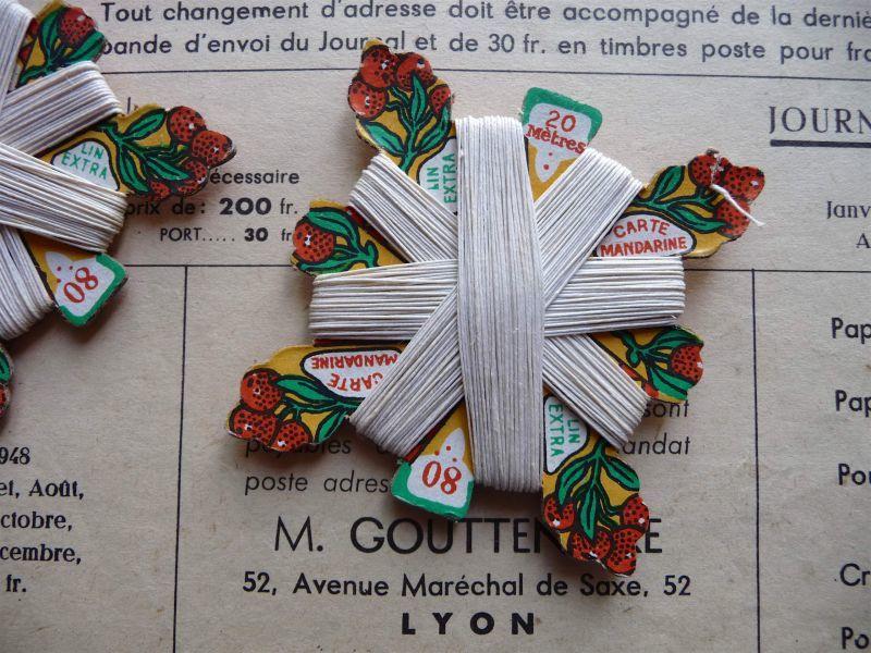 画像1: フランス製 麻の糸巻き マンダリン エクリュ