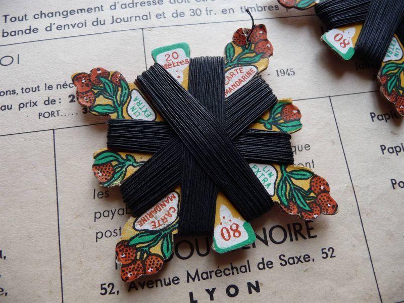 画像1: フランス製 麻の糸巻き マンダリン ブラック