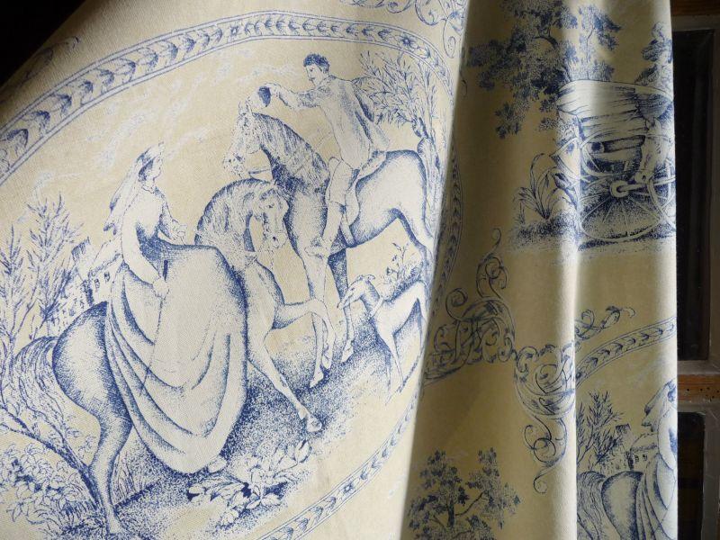 画像1: フランス製 ファブリック トワルドジュイ メダイヨン クリーム