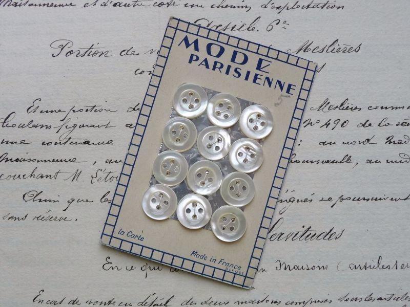 画像3: フランス製 マザーオブパール ボタンシート 12個
