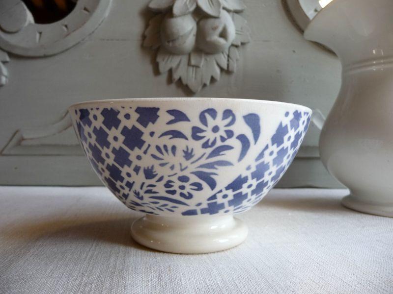 画像1: フランスアンティーク カフェオレボウル 青い小花