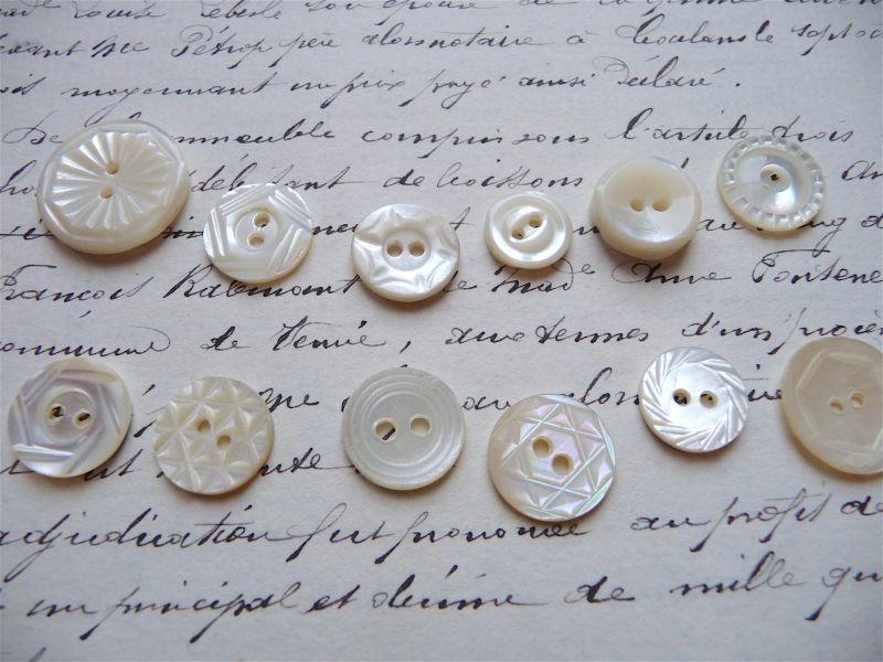 画像1: フランス製  マザーオブパール ボタン セット C